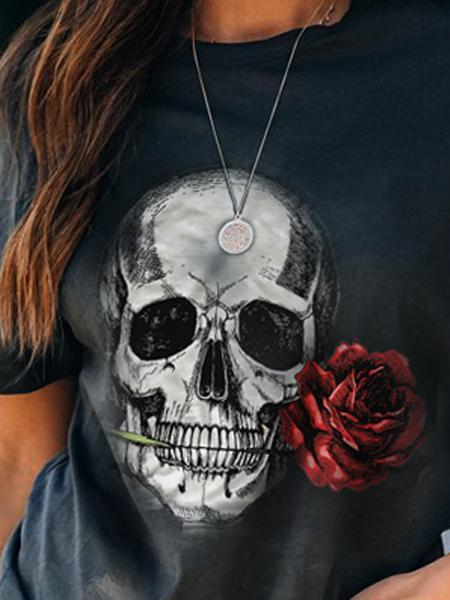 Deep Blue skull  Crew Neck Printed Casual Shirts & Tops