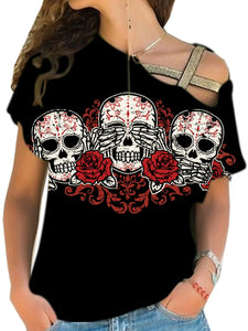 Skull Candy Roses Cross Shoulder Shirt