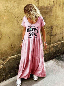 Letter Short Sleeve Crew Neck Boho Dress