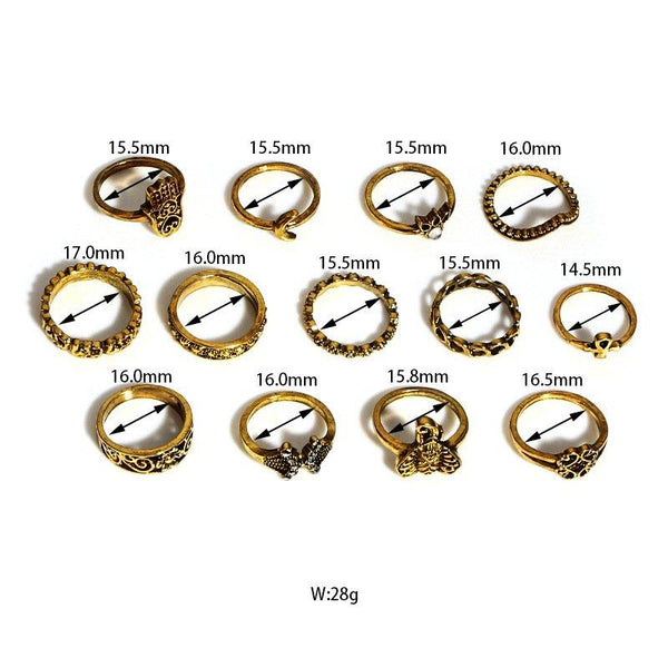 Carved Elephant Crescent Stone set with 13-piece ring