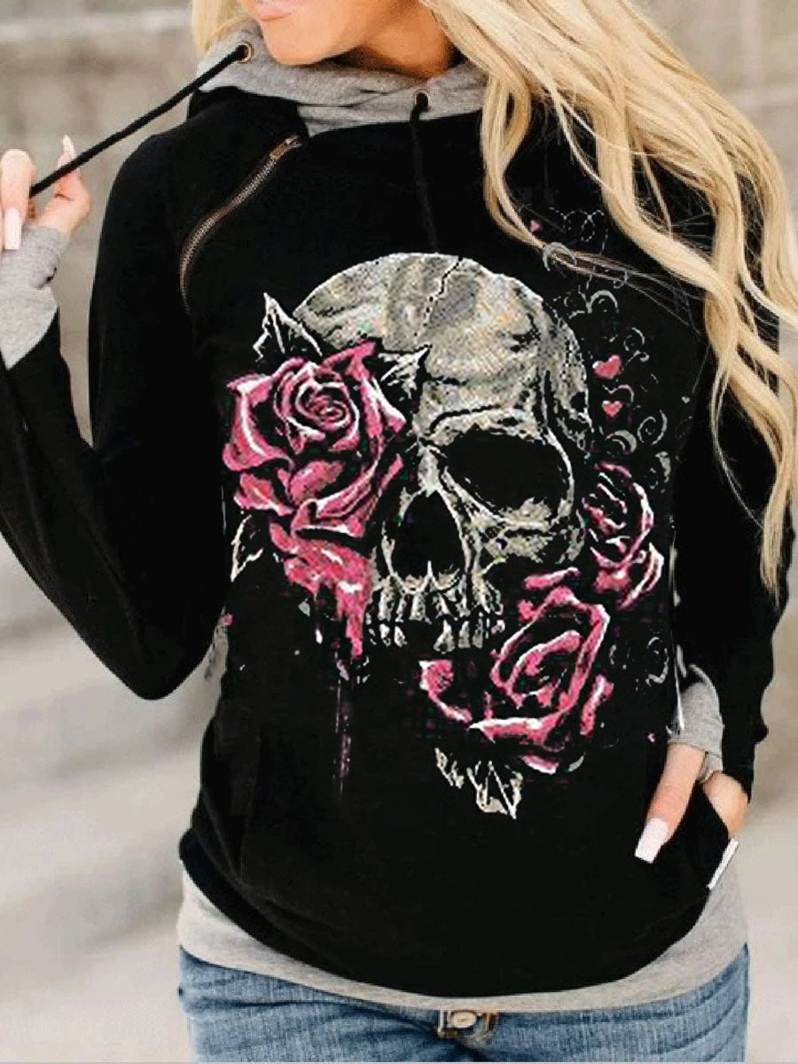 Punk casual long-sleeved hooded sweater top