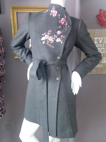 Vintage wool embroidery mid-length coat