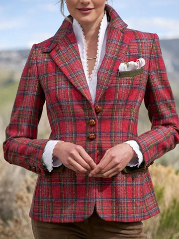 Retro red classic plaid stitching suit top