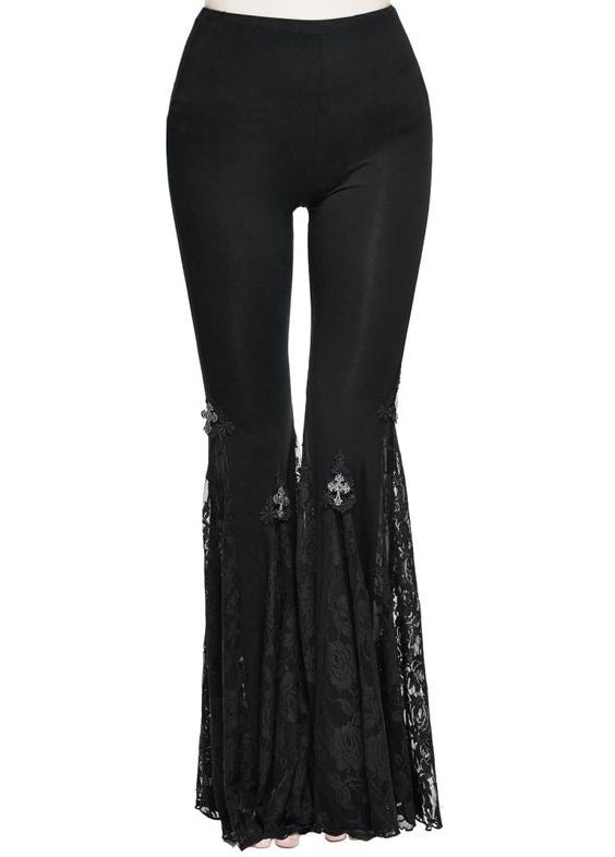 Punk style lace flared pants