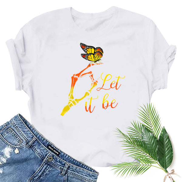 Casual Butterfly Printed Short Sleeve T-shirt