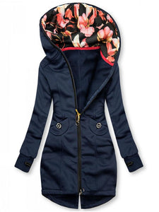 Hooded jacket with flowers