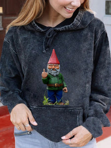 Evil Giant Gnome Print Hooded Sweatshirt