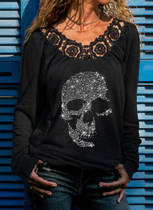 Punk Skull Hot Rhinestone Tie Top