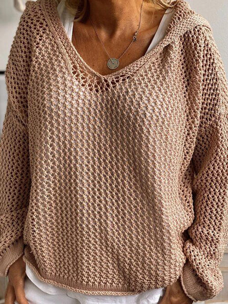 Casual Cutout Hooded Sweater