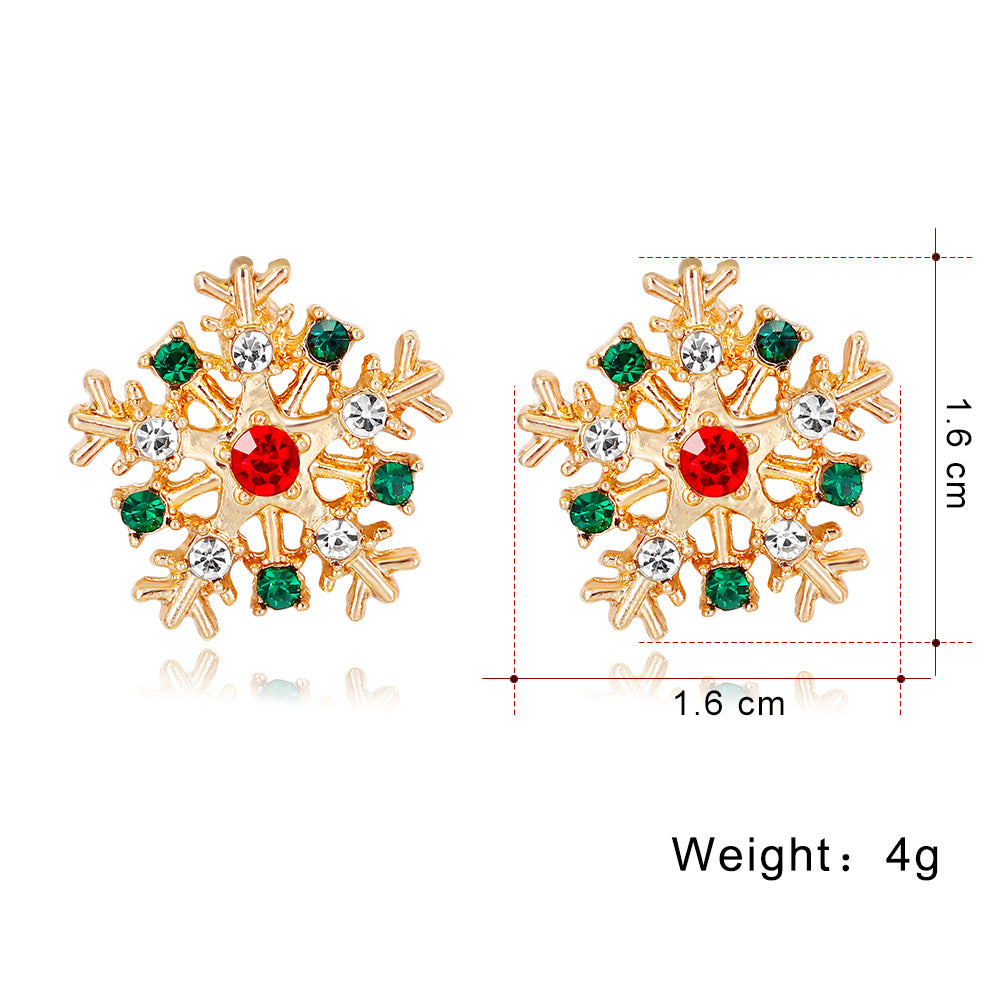 Creative diamond Christmas snowflake earrings