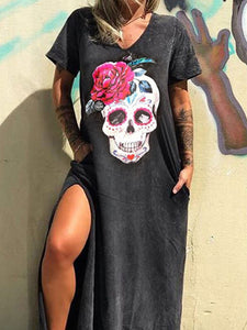 Round neck cotton long skirt skull print rock dress