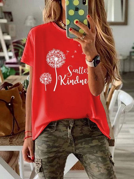 Women's dandelion printed round neck short sleeve T-shirt