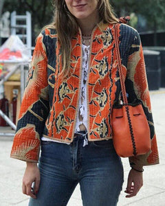 Long sleeve cropped printed jacket