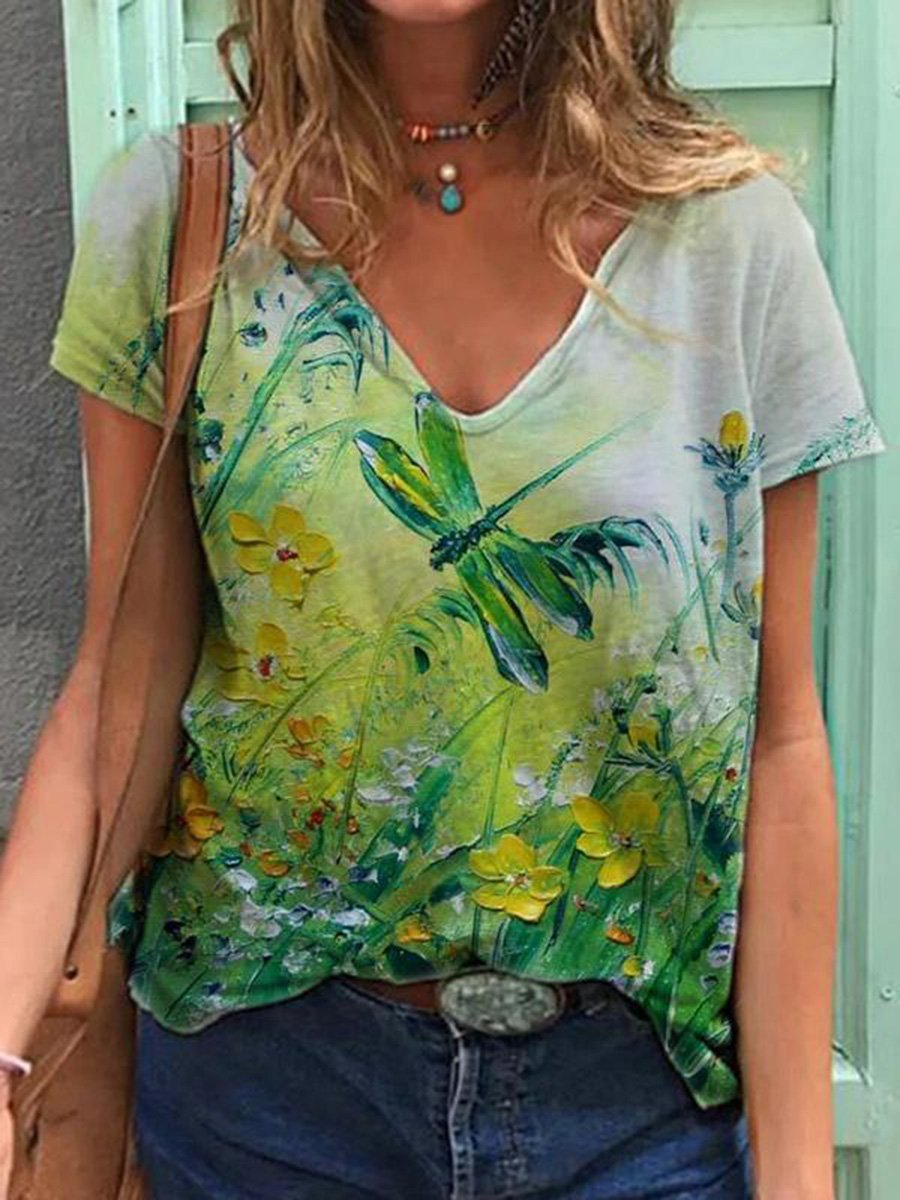 T-shirt Dragonfly Flower Painting Print
