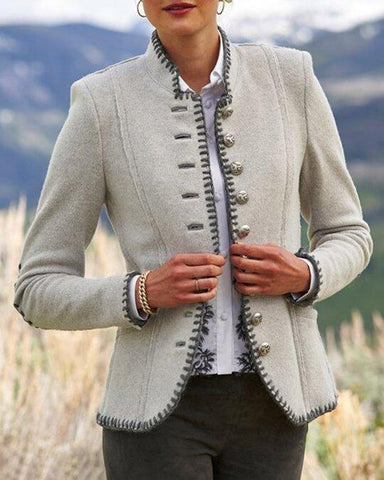 Retro plain Stand-up collar jacket