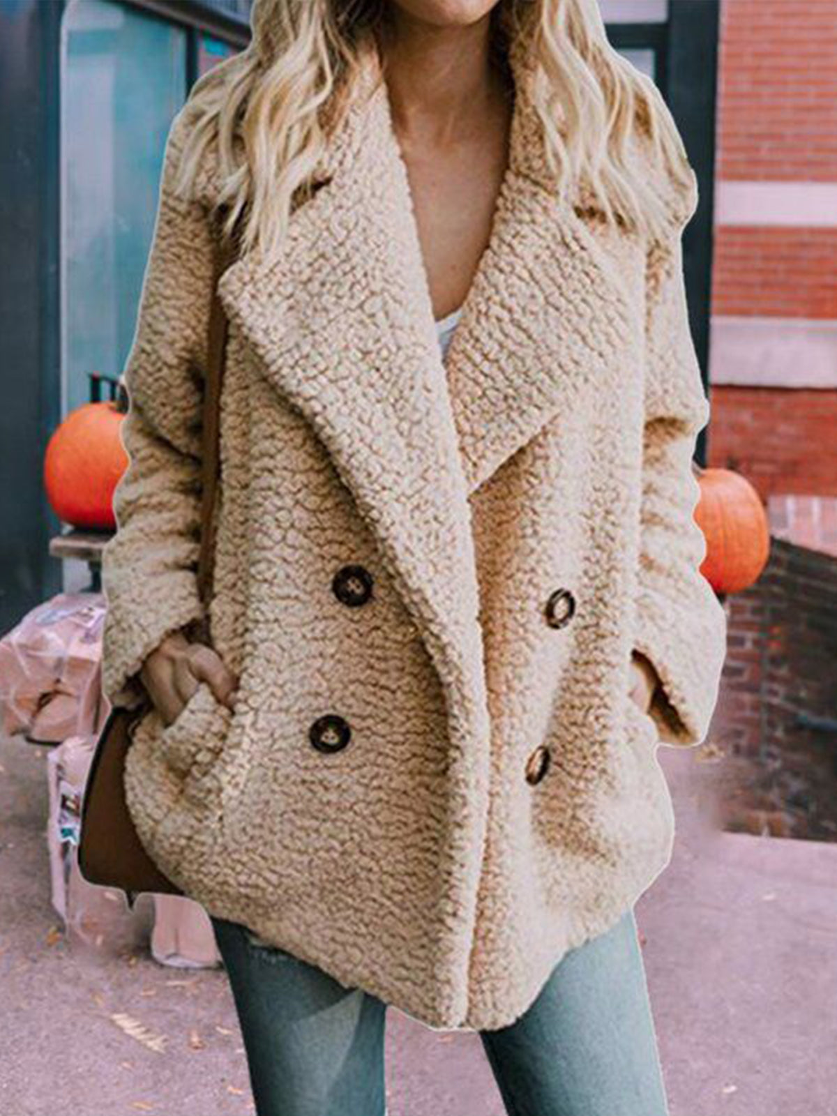 Fluffy solid color button casual jacket (6 colors)