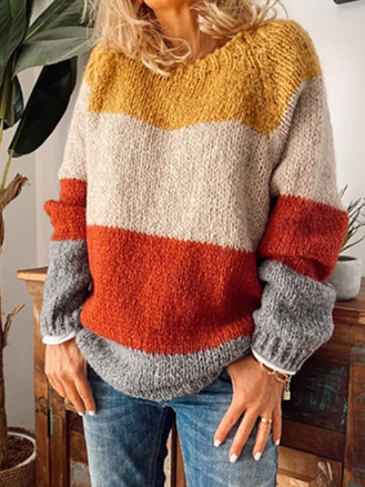 Round Neck Colouring Casual Sweater
