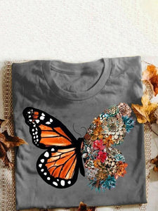 Butterfly flower print short sleeve t-shirt