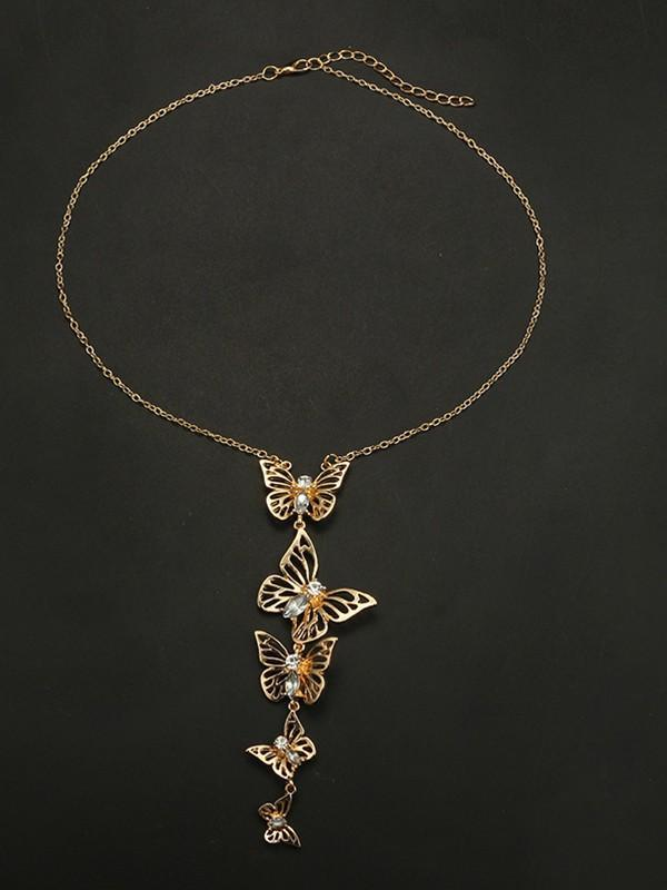 Necklace Alloy Diamond Hollow Butterfly