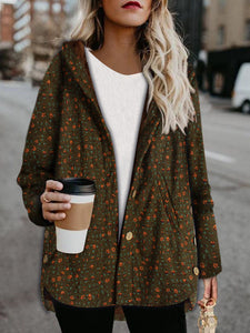 Fleece warm printed hooded coat