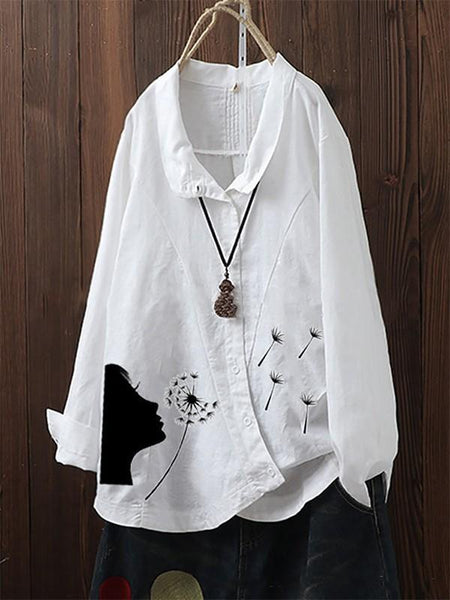 Women's dandelion printed irregular long-sleeved shirt