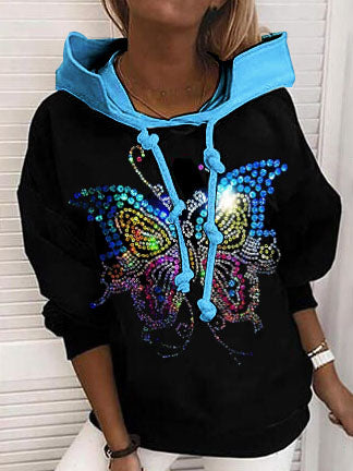 Hot diamond butterfly hit color casual Sweatshirt