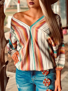 V-neck long sleeve striped print top