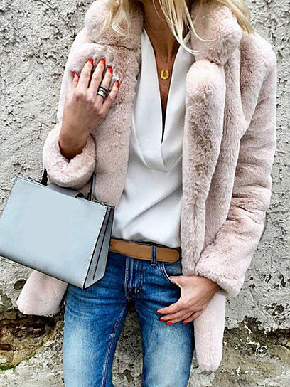 Fashion Women Lapel Fluffy Faux Fur Coat Warm Thick Winter Solid Color Outwear