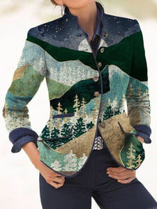 Retro print casual jacket coat top