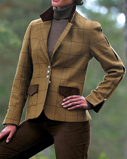 Vintage Plaid Print Lapel Button Long Sleeve Woman Jacket Outwear