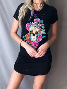 Round Neck Short Sleeve Graffiti Print Gresses