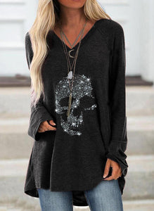 Sequins Round Neck Long Sleeves