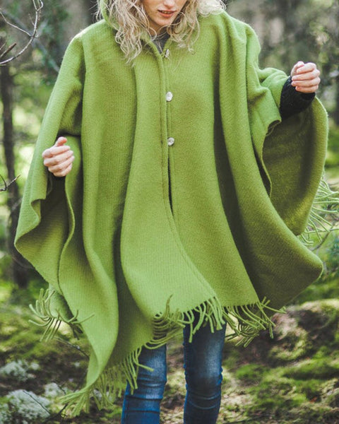 Knit Tassel Solid Casual Poncho