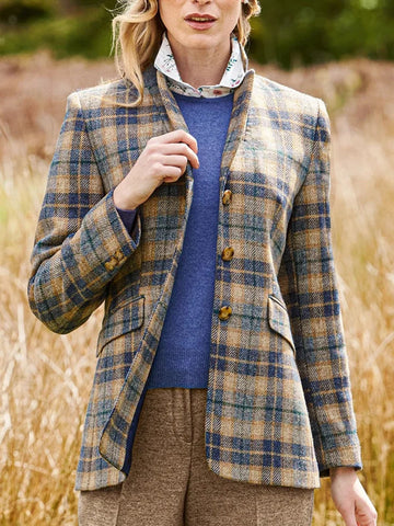 Elegant plaid/tartan zipper suit