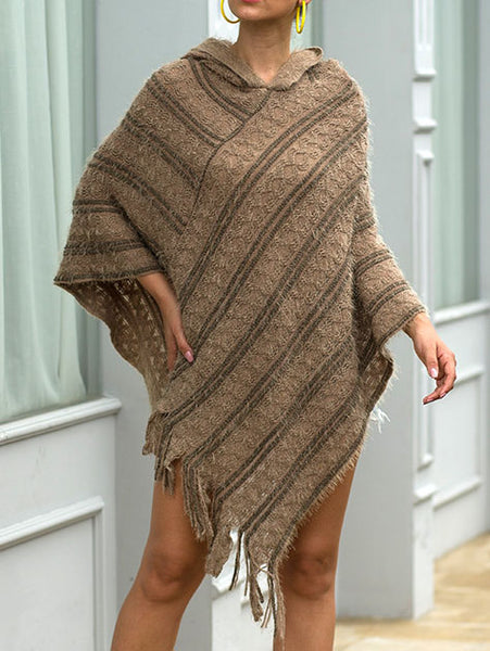 Striped sweater with hooded shawl and fringed cloak