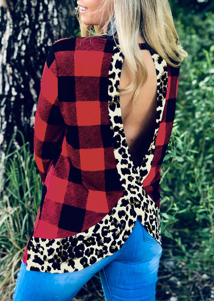 Leopard Printed Plaid Splicing Open Back Blouse