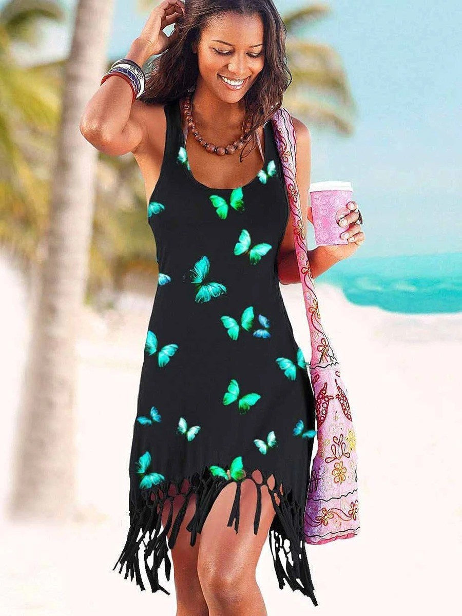 Butterfly Print Tassel Beach Dress