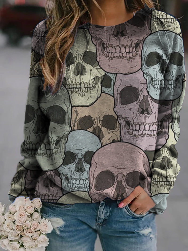 Women Halloween Skull Print Sweatshirt