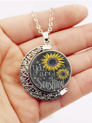 You are my sunshine rotating necklace jewelry