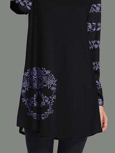 BLACK A-LINE LONG SLEEVES ABSTRACT DRESSES