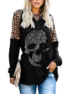Sequined Leopard Print Long Sleeve Tops Blouses