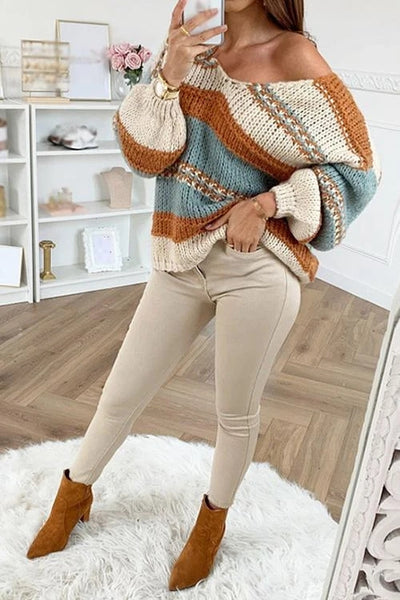 Stripe V Neck Puff Sleeve Sweater