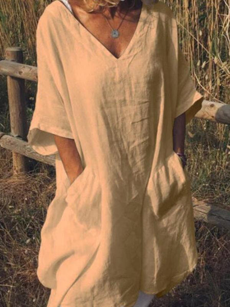 Women's cotton and linen pocket dress