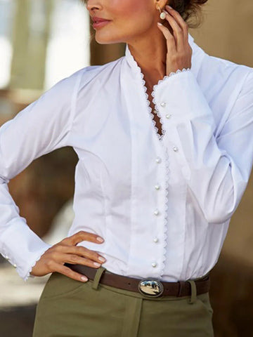 Pattern beaded V-neck white shirt