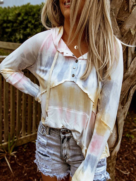 Multicolor Color-Block Patchwork Cotton Shirts & Long Tops Sleeve
