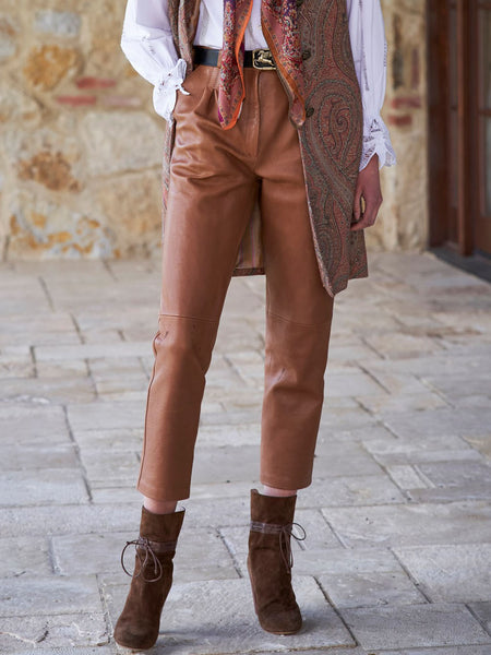 Casual retro solid color trousers
