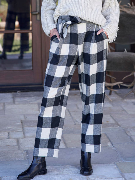 Casual plaid print trousers