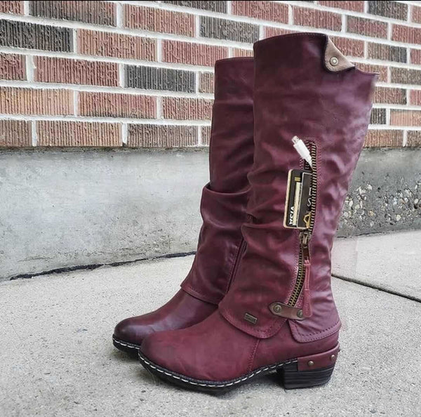 Winter Mid Calf Credit Card Money Wallet Pocket Boots