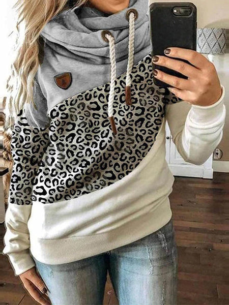 Casual Cotton-Blend Hoodie Color-Block Sweatshirt