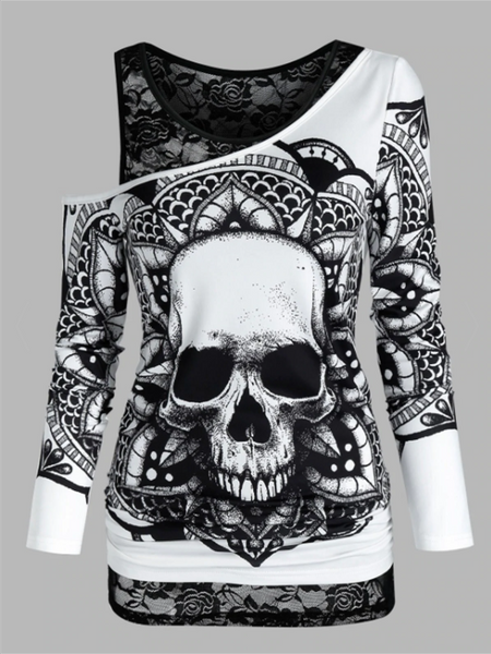 Skull Graphic Cold Shoulder Two Piece T Shirt